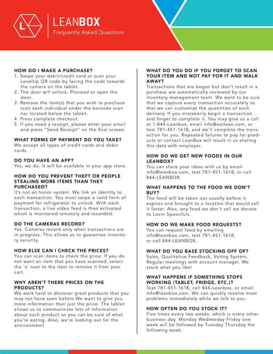 FAQ | Office Fresh Food Kiosk | LeanBox