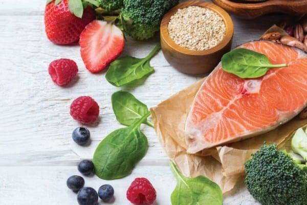 Fruit, vegetables, salmon